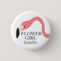 Pink Flamingo Whimsy Flower Girl Pinback Button