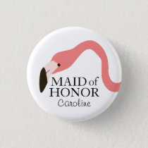 Pink Flamingo Whimsy Maid of Honor Pinback Button