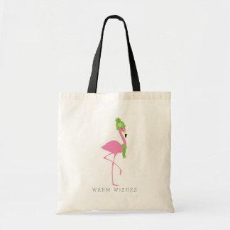 Pink Flamingo Winter Christmas Bag