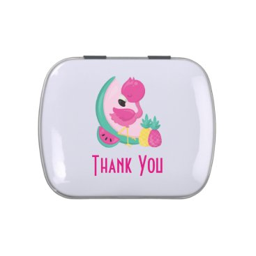 Pink Flamingo with Watermelon & Pineapples Candy Tin