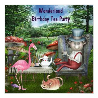 Pink Flamingo Wonderland Birthday Tea Party Card