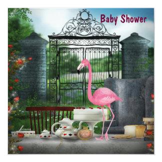 Pink Flamingo Wonderland Tea Party Baby Shower Card