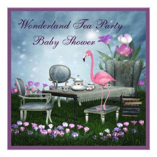 Pink Flamingo Wonderland Tea Party Baby Shower Custom Invitation