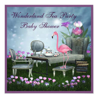 Pink Flamingo Wonderland Tea Party Baby Shower 5.25x5.25 Square Paper Invitation Card