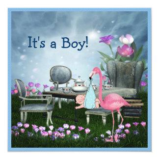 Pink Flamingo Wonderland Tea Party Boy Baby Shower Card