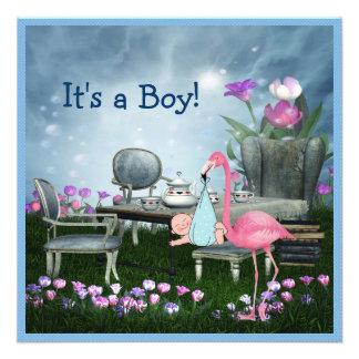 Pink Flamingo Wonderland Tea Party Boy Baby Shower Custom Announcement