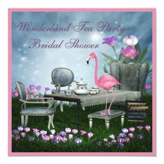 Pink Flamingo Wonderland Tea Party Bridal Shower Card