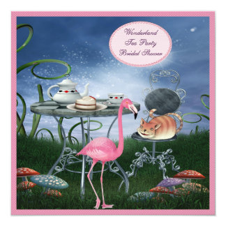Pink Flamingo Wonderland Tea Party Bridal Shower Card