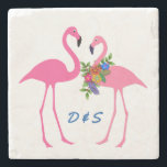 "Pink Flamingoes Couples Initials Stone Coaster<br><div class=""desc"">Tropical themed stone coasters with two pink flamingoes and a place for initials.  Cute gift for newlywed couples.</div>"