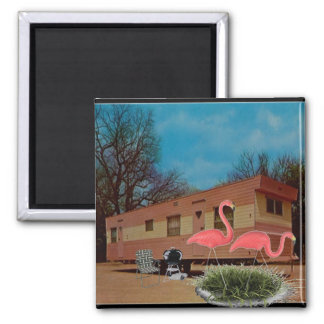 Pink Flamingos 2 Inch Square Magnet