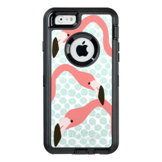 Pink Flamingos and Blue Dots Whimsical OtterBox Defender iPhone Case