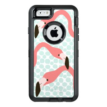 Pink Flamingos And Blue Dots Whimsical Otterbox Defender Iphone Case by DancingPelican at Zazzle