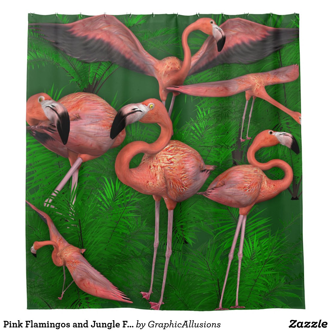 Pink Flamingos and Jungle Ferns Shower Curtain