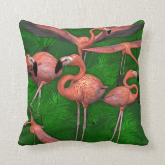 Pink Flamingos and Jungle Ferns Throw Pillow
