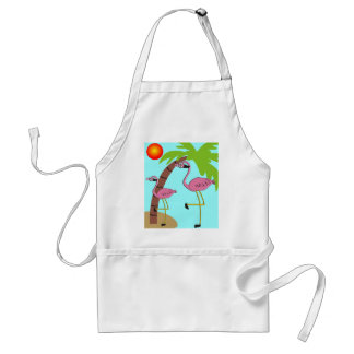 Pink Flamingos and Palm Tree Gifts Adult Apron