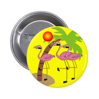 Pink Flamingos and Palm Tree Gifts Pinback Button