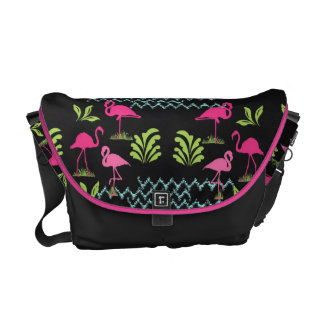 Pink Flamingos and  Water Ripples Pretty Pattern Courier Bag