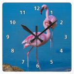 Pink Flamingos at the Lake Square Wall Clocks