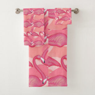 Pink Flamingos Bath Towel Set