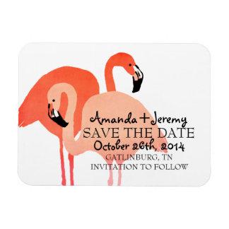 Pink Flamingos Beach Save The Date Rectangular Photo Magnet