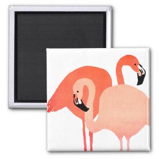 Pink Flamingos Beach Wedding 2 Inch Square Magnet