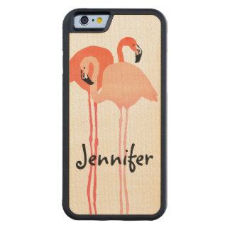 Pink Flamingos Beach Wedding Carved® Maple iPhone 6 Bumper