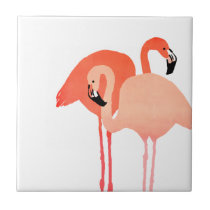 Pink Flamingos Beach Wedding Ceramic Tile