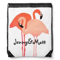 Pink Flamingos Beach Wedding Drawstring Backpack