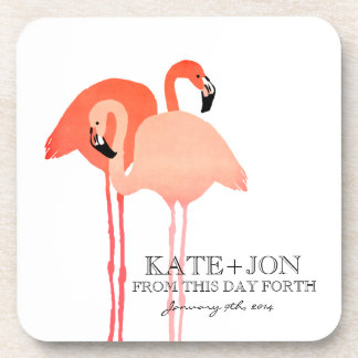 Pink Flamingos Beach Wedding Drink Coaster