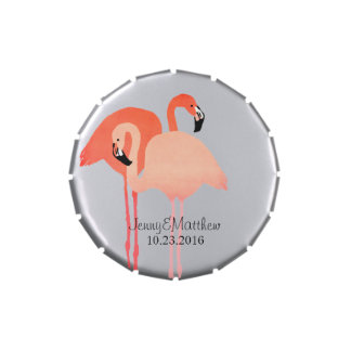 Pink Flamingos Beach Wedding Jelly Belly Candy Tins