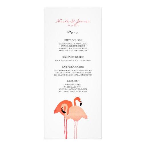 Pink Flamingos Beach Wedding Menu Custom Invite
