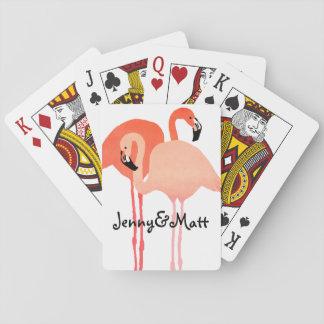 Pink Flamingos Beach Wedding Playing Cards