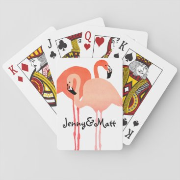 Beach Themed Pink Flamingos Beach Wedding Playing Cards
