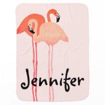 Pink Flamingos Beach Wedding Receiving Blanket