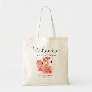 Pink Flamingos Beach Wedding Welcome Tote Bag
