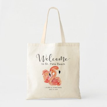 Beach Themed Pink Flamingos Beach Wedding Welcome Tote Bag