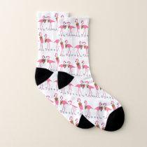 Pink Flamingos Blue Starfish Pattern Socks
