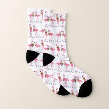 Beach Themed Pink Flamingos Blue Starfish Pattern Socks