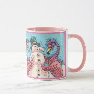 Pink Flamingos Building Snowman CHRISTMAS MUG