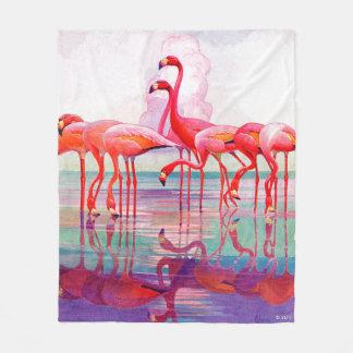 Pink Flamingos by Francis Lee Jaques Fleece Blanket