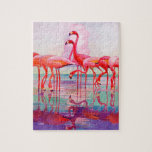 """Pink Flamingos by Francis Lee Jaques Jigsaw Puzzle<br><div class=""""desc"""">Pink Flamingos by Francis Lee Jaques 