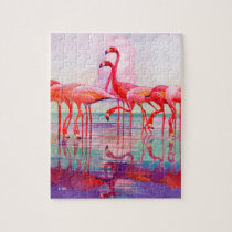 Pink Flamingos by Francis Lee Jaques Jigsaw Puzzle