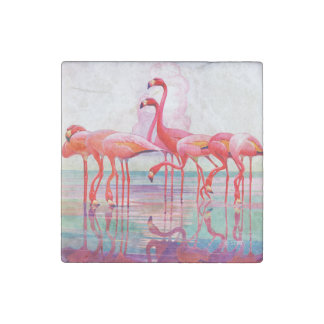 Pink Flamingos by Francis Lee Jaques Stone Magnet