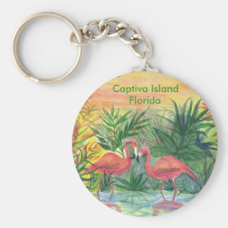 Pink Flamingos Captiva Island, Florida Keychain