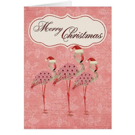 Pink Flamingos Christmas Card