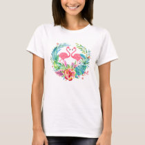 Pink Flamingos & Colorful Tropical Flowers Wreath T-Shirt