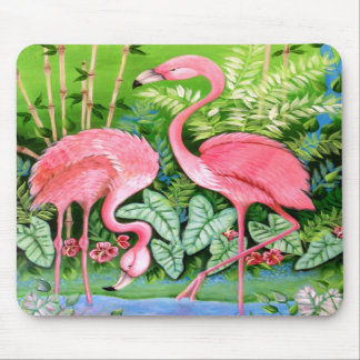 Pink Flamingos Design Mouse Pad