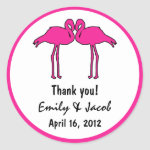 Pink Flamingos Favor Tags Round Sticker