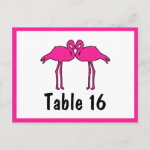 Pink Flamingos Flat Table Number Cards Post Cards