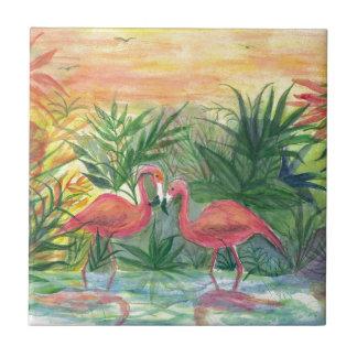 Pink Flamingos Florida Art Ceramic Tile